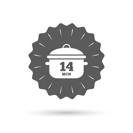 stew pan: Vintage emblem medal. Boil 14 minutes. Cooking pan sign icon. Stew food symbol. Classic flat icon. Vector