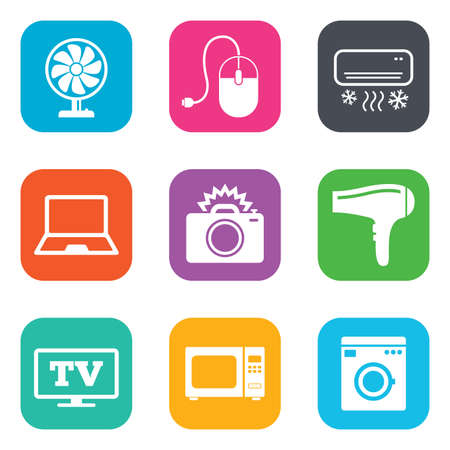 ventilator: Home appliances, device icons. Electronics signs. Air conditioning, washing machine and ventilator symbols. Flat square buttons. Vector
