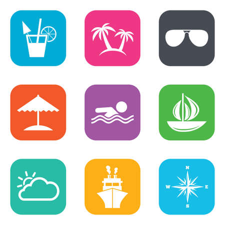 square button: Cruise trip, ship and yacht icons. Travel, cocktails and palm trees signs. Sunglasses, windrose and swimming symbols. Flat square buttons. Vector