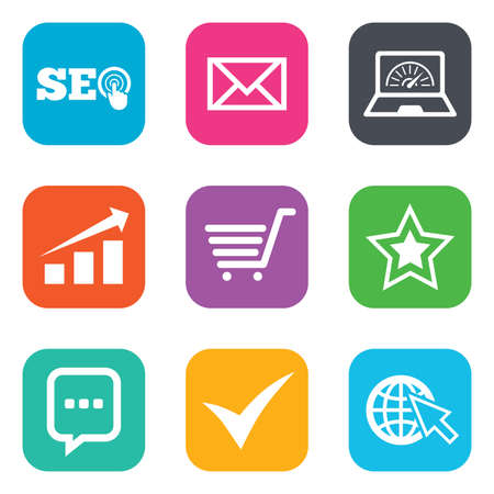 bandwidth: Internet, seo icons. Tick, online shopping and chart signs. Bandwidth, mobile device and chat symbols. Flat square buttons. Vector