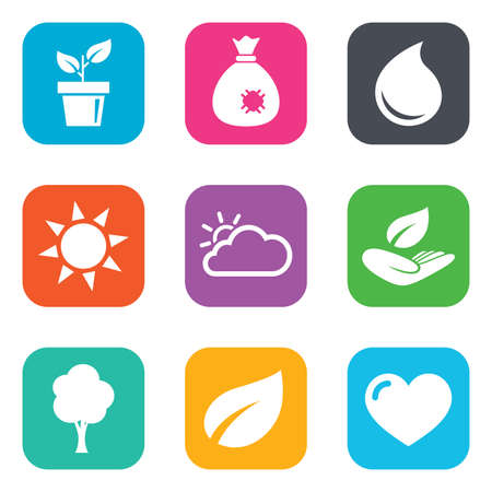 bag of soil: Garden sprout, leaf icons. Nature and weather signs. Sun, cloud and tree symbols. Flat square buttons. Vector