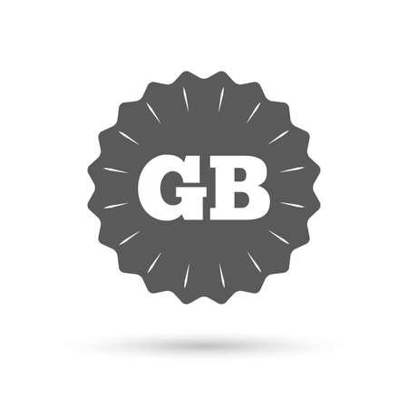 gb: Vintage emblem medal. British language sign icon. GB Great Britain translation symbol. Classic flat icon. Vector