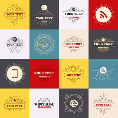 qa: Vintage frames, labels. Question answer icon.  Smartphone and Q&A chat speech bubble symbols. RSS feed and internet globe signs. Communication Scroll elements. Vector Illustration