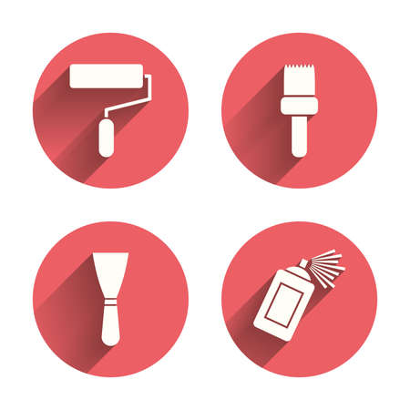 paint can: Paint roller, brush icons. Spray can and Spatula signs. Wall repair tool and painting symbol. Pink circles flat buttons with shadow. Vector Illustration
