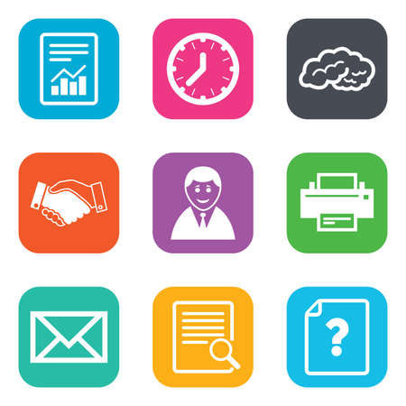 office documents: Office, documents and business icons. Deal, mail and businessman signs. Report, magnifier and brain symbols. Flat square buttons. Vector Illustration