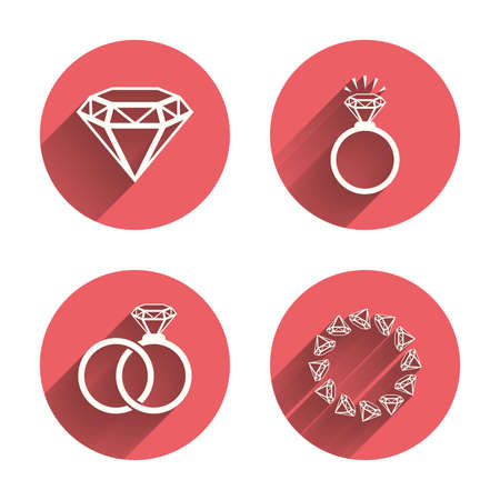 jewelry vector: Rings icons. Jewelry with shine diamond signs. Wedding or engagement symbols. Pink circles flat buttons with shadow. Vector
