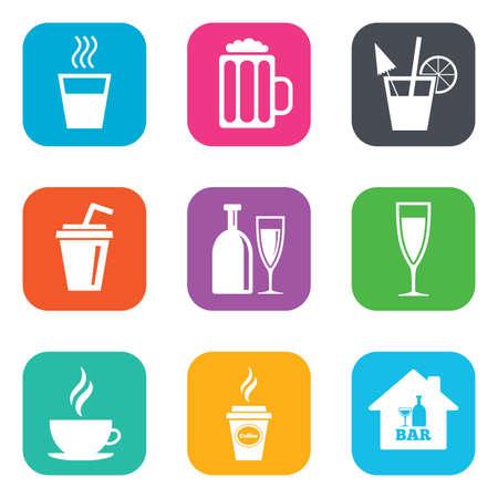 Cocktail, icônes de la bière. Café et thé boissons. Boissons gazeuses et alcool symboles. Appartement boutons carrés. Vecteur Vecteurs