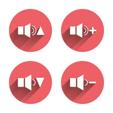 quieter: Player control icons. Sound louder and quieter signs. Dynamic symbol. Pink circles flat buttons with shadow. Vector