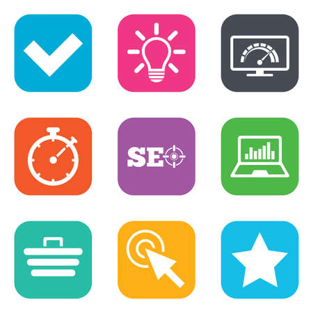bandwidth: Internet, seo icons. Bandwidth speed, online shopping and tick signs. Favorite star, notebook chart symbols. Flat square buttons. Vector