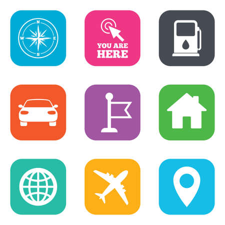 orange rose: Navigation, gps icons. Windrose, compass and map pointer signs. Car, airplane and flag symbols. Flat square buttons. Vector