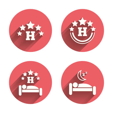 five stars: Five stars hotel icons. Travel rest place symbols. Human sleep in bed sign. Pink circles flat buttons with shadow. Vector