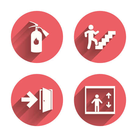 Emergency exit icons. Fire extinguisher sign. Elevator or lift symbol. Fire exit through the stairwell. Pink circles flat buttons with shadow. Vector Stock Illustratie