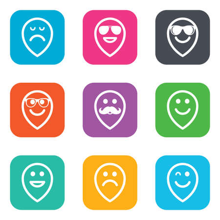 happy sad: Smile pointers icons. Happy, sad and wink faces signs. Sunglasses, mustache and laughing lol smiley symbols. Flat square buttons. Vector Vettoriali