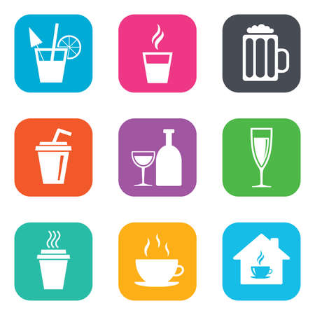 take away: Tea, coffee and beer icons. Beer, wine and cocktail signs. Take away drinks. Flat square buttons. Vector