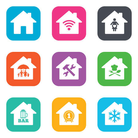 air hammer: Real estate icons. Home insurance, maternity hospital and wifi internet signs. Restaurant, service and air conditioning symbols. Flat square buttons. Vector Illustration
