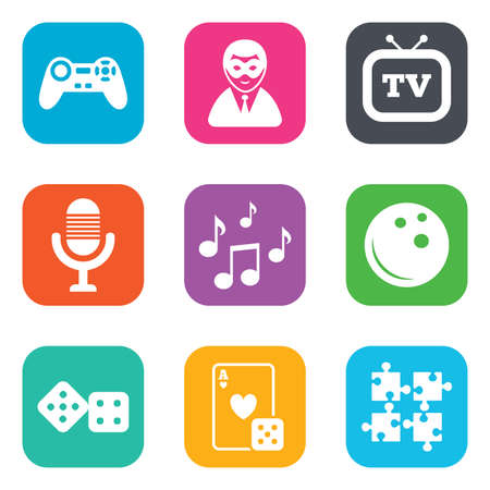 puzzle corners: Entertainment icons. Game, bowling and puzzle signs. Casino, carnival and musical note symbols. Flat square buttons. Vector
