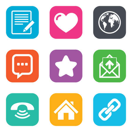 blog icon: Mail, contact icons. Favorite, like and internet signs. E-mail, chat message and phone call symbols. Flat square buttons. Vector