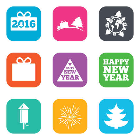 salut: Christmas, new year icons. Gift box, fireworks signs. Santa bag, salut and rocket symbols. Flat square buttons. Vector Illustration