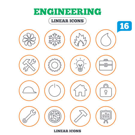 engineering icon: Engineering icons. Ventilation, heat and air conditioning symbols. Water supply, repair service and circuit board thin outline signs. Lamp, house and locker. Circle buttons on white. Vector