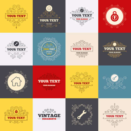 main: Vintage frames, labels. Home key icon. Wrench service tool symbol. Locker sign. Main page web navigation. Scroll elements. Vector