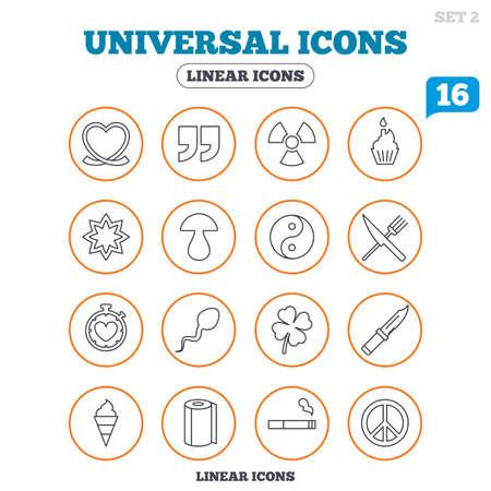 espermatozoides: iconos universales. Cotizaciones, corazón cinta y pastel. Trébol, champiñones y crema de hielo. Fumar, cuchillo y tenedor. botones de círculo en blanco. Vector Vectores