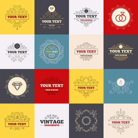 fiance: Vintage frames, labels. Rings icons. Jewelry with shine diamond signs. Wedding or engagement symbols. Scroll elements. Vector