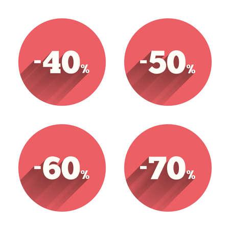 販売割引アイコン。特別オファー価格の兆候。40、50、60、70% 削減のシンボル。ピンクの円の影とフラットなボタン。ベクトル