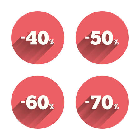 50 60: Sale discount icons. Special offer price signs. 40, 50, 60 and 70 percent off reduction symbols. Pink circles flat buttons with shadow. Vector Vectores