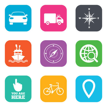 orange rose: Navigation, gps icons. Windrose, compass and map pointer signs. Bicycle, ship and car symbols. Flat square buttons. Vector Illustration