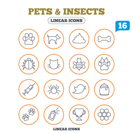 clutches: Pets and Insects icons. Dog paw. Cat paw with clutches. Bone, feces excrement and vaccination. Honey, bee and honey comb. Circle buttons on white. Vector