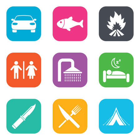 sleeping car: Hiking travel icons. Camping, shower and wc toilet signs. Tourist tent, fork and knife symbols. Flat square buttons. Vector Illustration