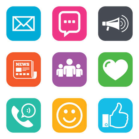 Mail, news icons. Conference, like and group signs. E-mail, chat message and phone call symbols. Flat square buttons. Vector