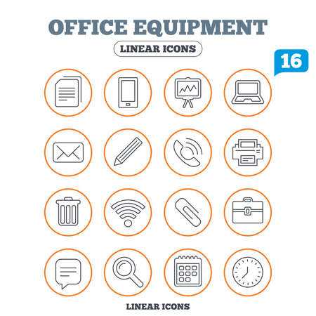 computer printer: Office equipment icons. Computer, printer and smartphone. Wi-fi, chat speech bubble and copy documents. Presentation board, paperclip with pencil and magnifying glass. Circle buttons on white. Vector