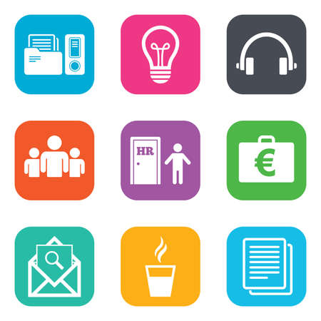 office documents: Office, documents and business icons. Accounting, human resources and group signs. Mail, ideas and money case symbols. Flat square buttons. Vector