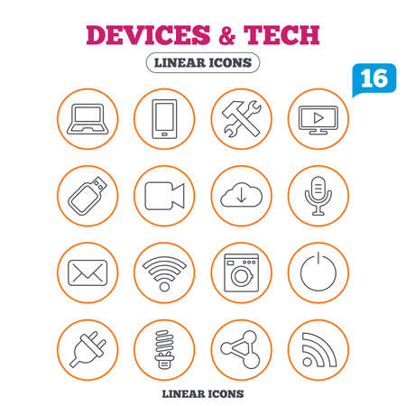 smartphone icon: Devices and technologies icons. Notebook, smartphone and wi-fi symbols. Usb flash, video camera, microphone thin outline signs. Washing machine, fluorescent lamp and electric plug. Circle buttons on white. Vector Illustration