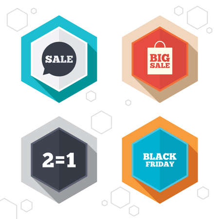 equals: Hexagon buttons. Sale speech bubble icons. Two equals one. Black friday sign. Big sale shopping bag symbol. Labels with shadow. Vector