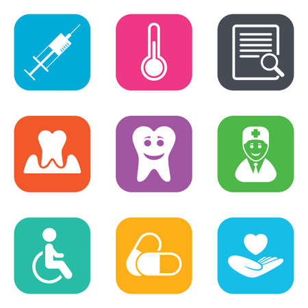 Medicine, medical health and diagnosis icons. Capsules, syringe and doctor signs. Tooth parodontosis, disabled person symbols. Flat square buttons. Vector Illustration