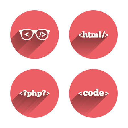coder: Programmer coder glasses icon. HTML markup language and PHP programming language sign symbols. Pink circles flat buttons with shadow. Vector