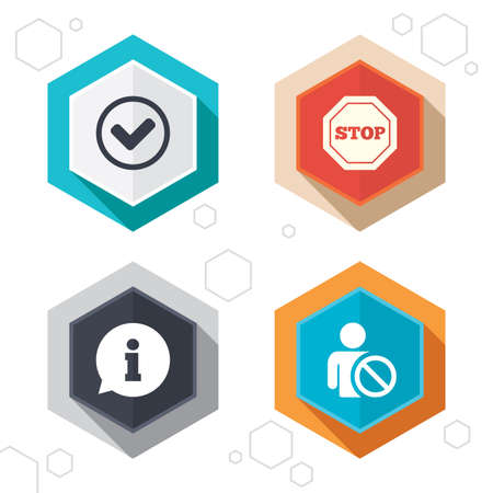 blacklist: Hexagon buttons. Information icons. Stop prohibition and user blacklist signs. Approved check mark symbol. Labels with shadow. Vector