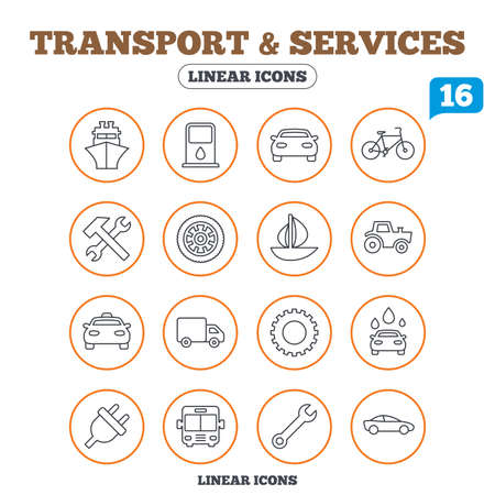 public services: Transport and services icons. Ship, car and public bus, taxi. Repair hammer and wrench key, wheel and cogwheel. Sailboat and bicycle. Circle buttons on white. Vector