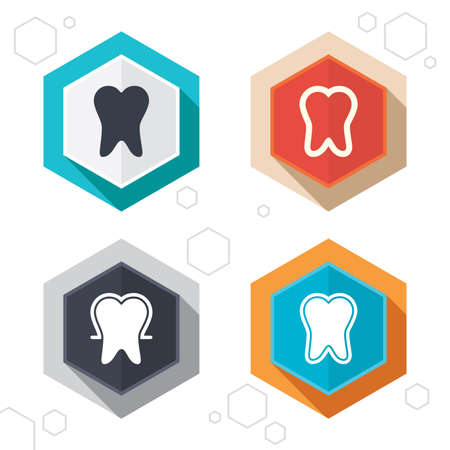 enamel: Hexagon buttons. Tooth enamel protection icons. Dental care signs. Healthy teeth symbols. Labels with shadow. Vector Illustration