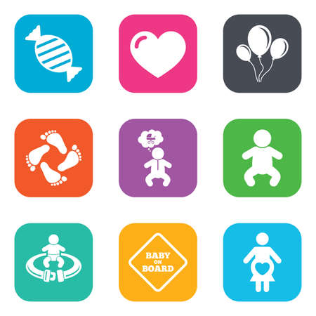 to fasten: Pregnancy, maternity and baby care icons. Candy, strollers and fasten seat belt signs. Footprint, love and balloon symbols. Flat square buttons. Vector Illustration