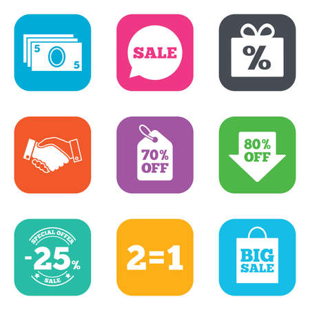 70 80: Sale discounts icon. Shopping, handshake and cash money signs. 25, 70 and 80 percent off. Special offer symbols. Flat square buttons. Vector Illustration