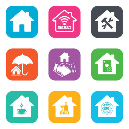 bar tool set: Real estate icons. House insurance, broker and casino with bar signs. Handshake deal, coffee and smart house symbols. Flat square buttons. Vector Illustration