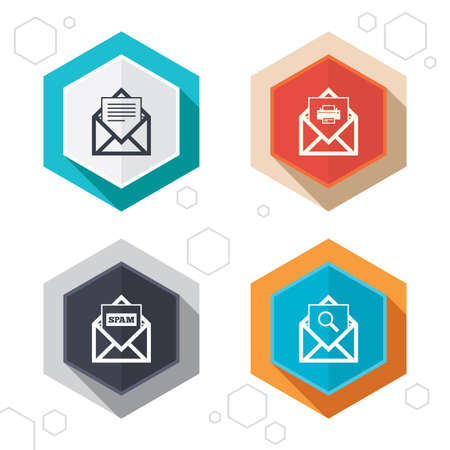 post office: Hexagon buttons. Mail envelope icons. Print message document symbol. Post office letter signs. Spam mails and search message icons. Labels with shadow. Vector
