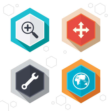 fullscreen: Hexagon buttons. Magnifier glass and globe search icons. Fullscreen arrows and wrench key repair sign symbols. Labels with shadow. Vector