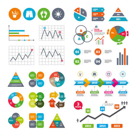 Business data pie charts graphs. Beach holidays icons. Cocktail, human footprints and swimming trunks signs. Summer sun symbol. Market report presentation. Vector Illustration