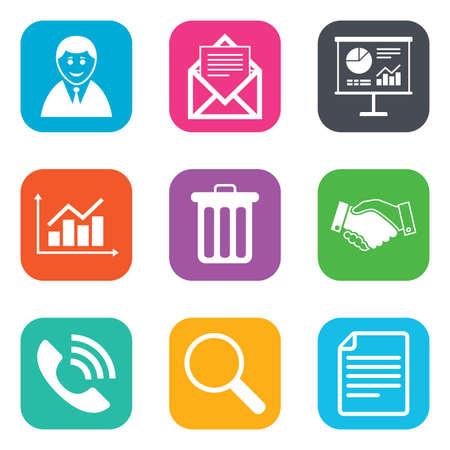 사무실, 문서 및 비즈니스 아이콘입니다. 사업가, 악수 및 호출 부호. 차트, 프레 젠 테이 션 및 메일 기호입니다. 사각형 버튼을 광장. 벡터