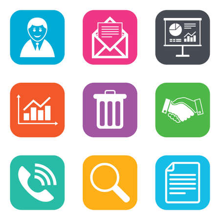 Office, documents and business icons. Businessman, handshake and call signs. Chart, presentation and mail symbols. Flat square buttons. Vector