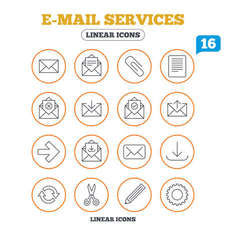 Mail services icons. Send mail, paper clip and download arrow symbols. Scissors, pencil and refresh thin outline signs. Receive, select and delete mail. Circle buttons on white. Vector Illustration